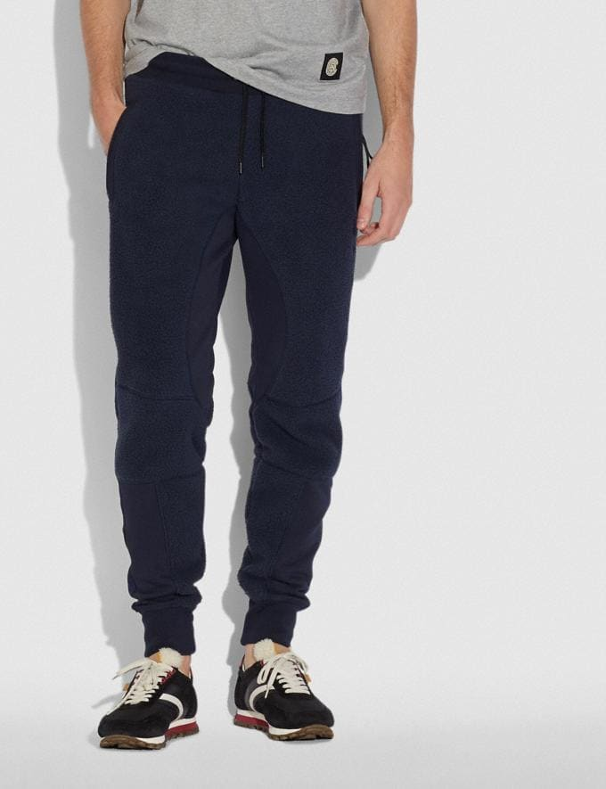 Coach Horse and Carriage Fleece Track Pants Deep Navy Men Ready-to-Wear Tops & Bottoms Alternate View 1