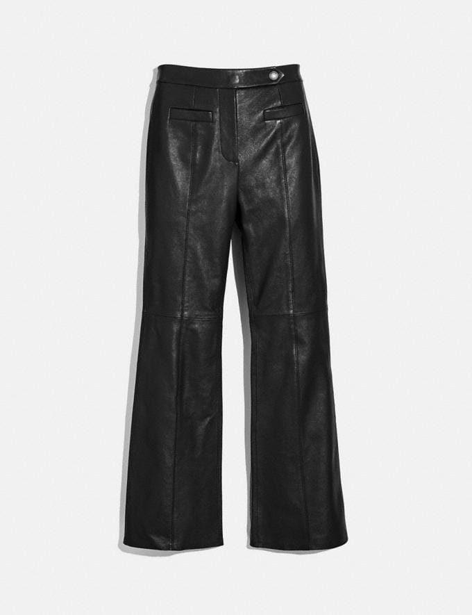 Coach Leather Flare Trousers Black New Women's New Arrivals Ready-to-Wear