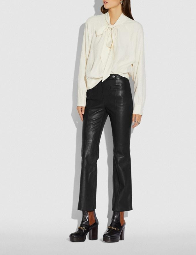 Coach Leather Flare Trousers Black New Women's New Arrivals Ready-to-Wear Alternate View 1