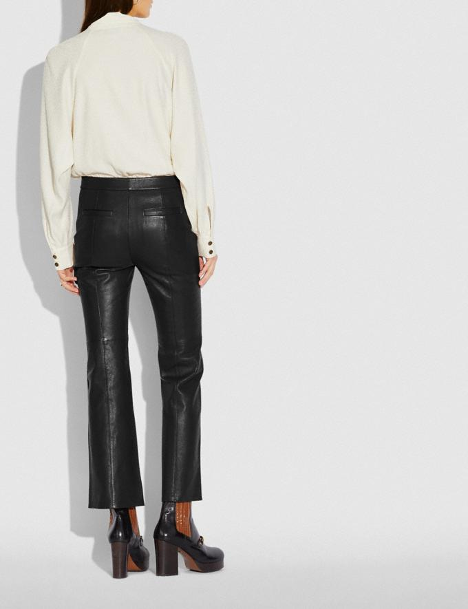 Coach Leather Flare Trousers Black New Women's New Arrivals Ready-to-Wear Alternate View 2