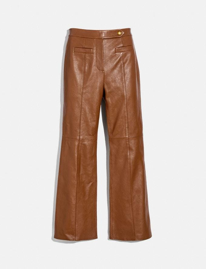 Coach Leather Flare Trousers Brindle New Women's New Arrivals Ready-to-Wear