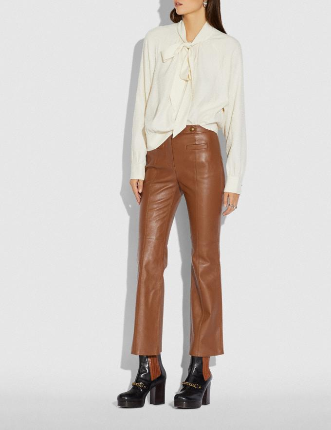 Coach Leather Flare Trousers Brindle New Women's New Arrivals Ready-to-Wear Alternate View 1