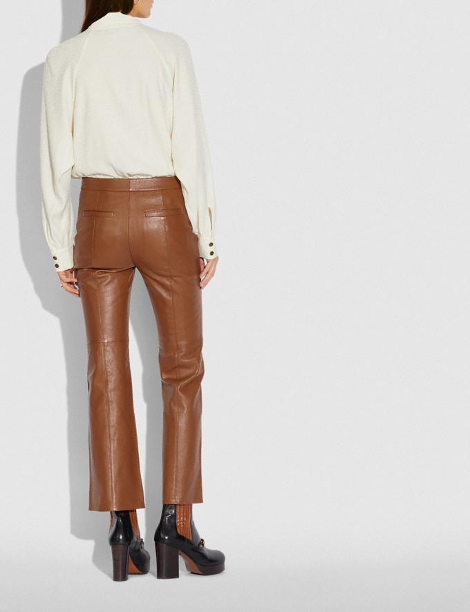 Coach Leather Flare Trousers Brindle New Women's New Arrivals Ready-to-Wear Alternate View 2