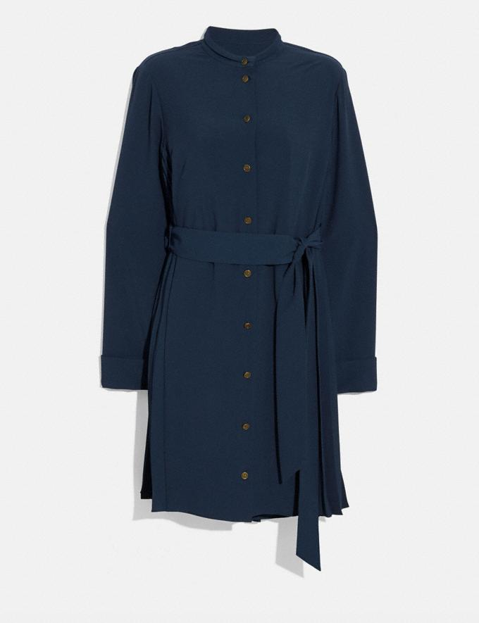 Coach Heritage Pleat Shirt Dress Navy Women Ready-to-Wear Dresses