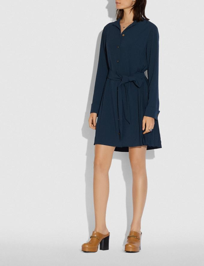 Coach Heritage Pleat Shirt Dress Navy New Women's New Arrivals Alternate View 1
