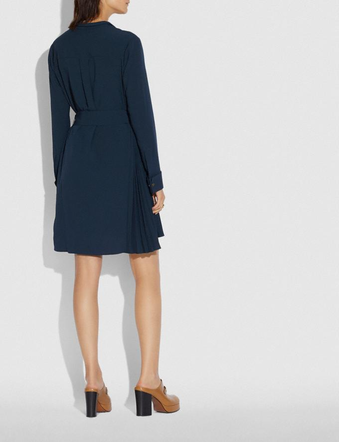 Coach Heritage Pleat Shirt Dress Navy Women Ready-to-Wear Dresses Alternate View 2