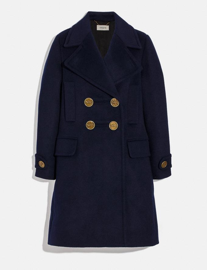 Coach Double Breasted Coat Navy