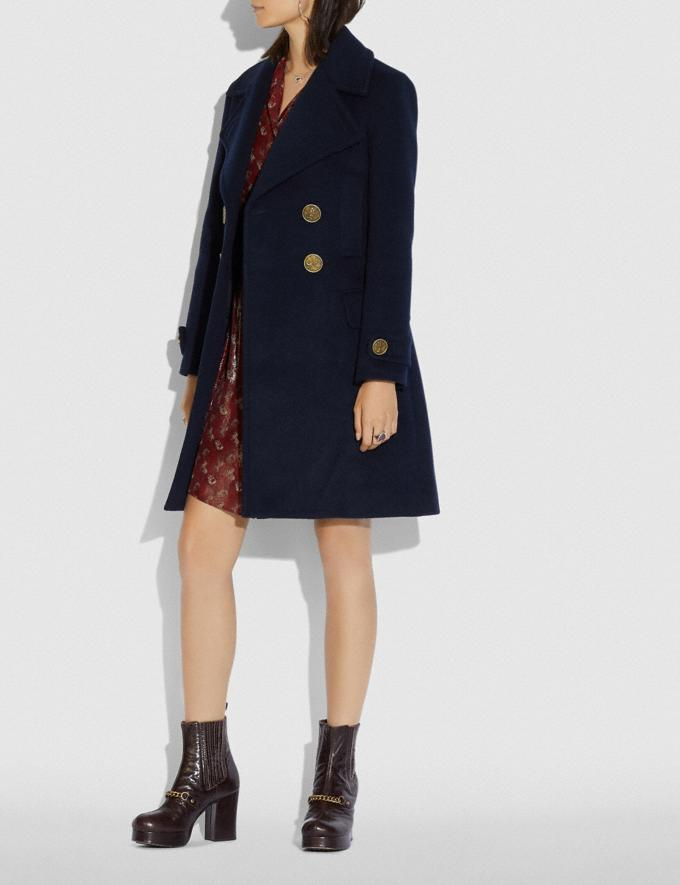 Coach Double Breasted Coat Navy  Alternate View 1