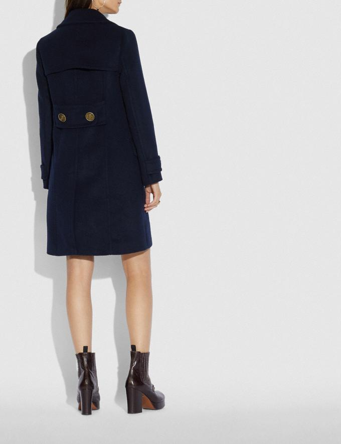 Coach Double Breasted Coat Navy  Alternate View 2