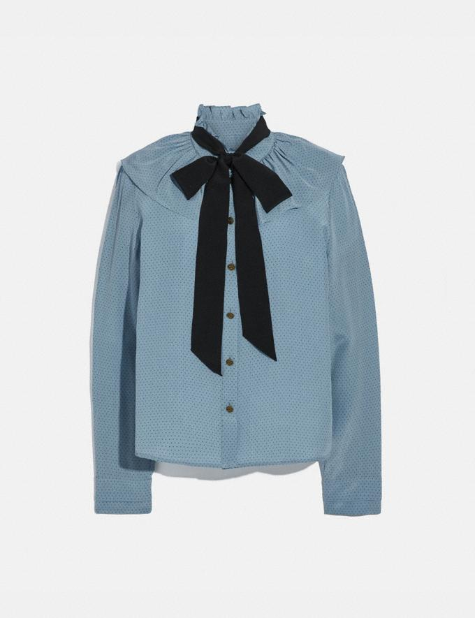 Coach Gathered Collar Blouse Blue New Women's New Arrivals