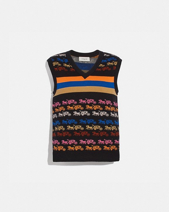 Coach RAINBOW HORSE AND CARRIAGE SWEATER VEST