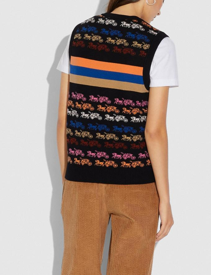 Coach Rainbow Horse and Carriage Sweater Vest Multi Women Ready-to-Wear Tops Alternate View 2