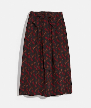 HORSE AND CARRIAGE PRINT GATHERED SKIRT