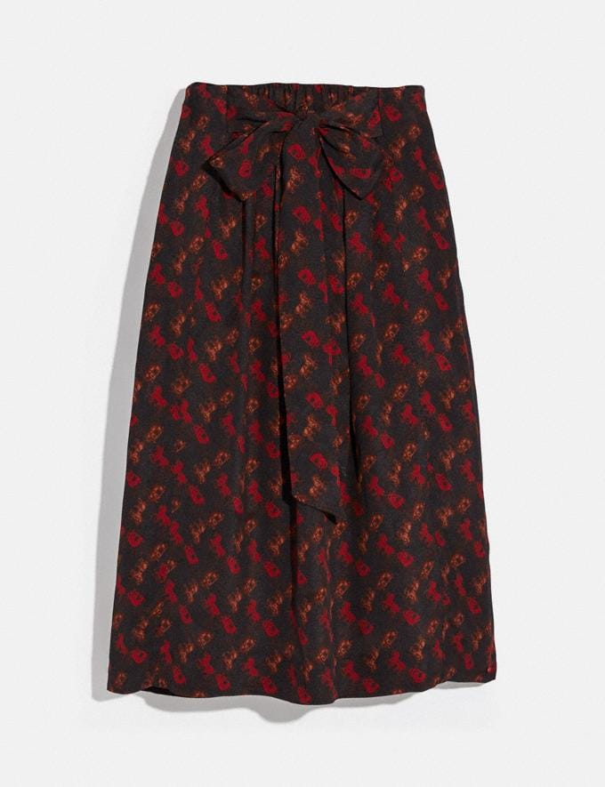 Coach Horse and Carriage Print Gathered Skirt Black/Red