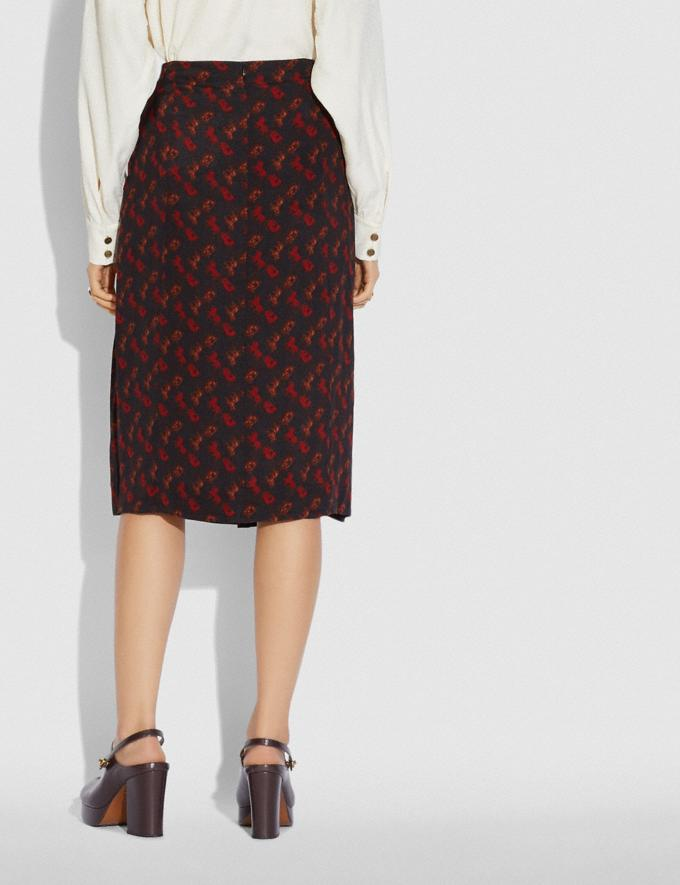 Coach Horse and Carriage Print Gathered Skirt Black/Red  Alternate View 2