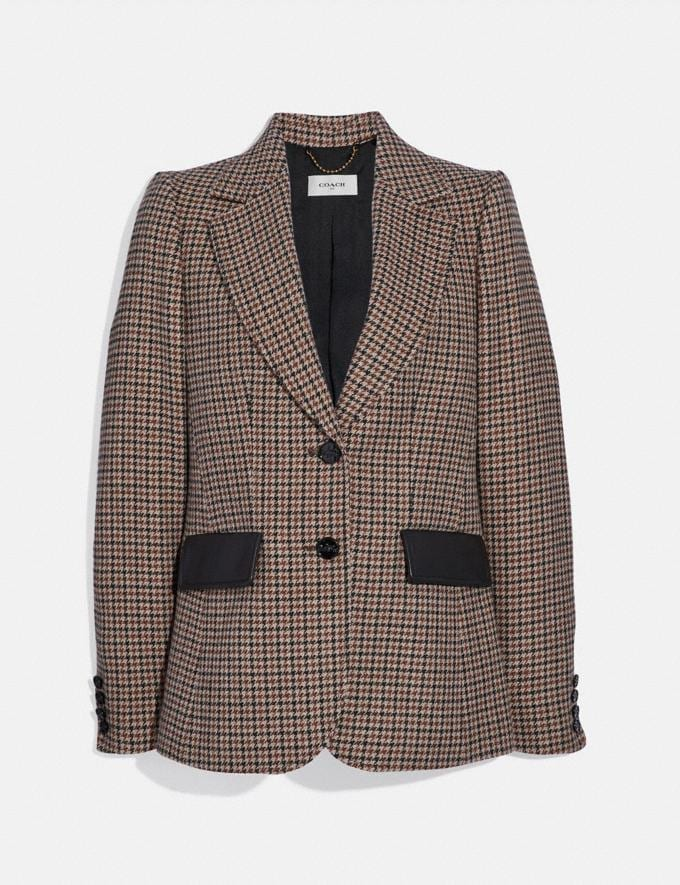 Coach Check Blazer Brown New Women's New Arrivals Ready-to-Wear