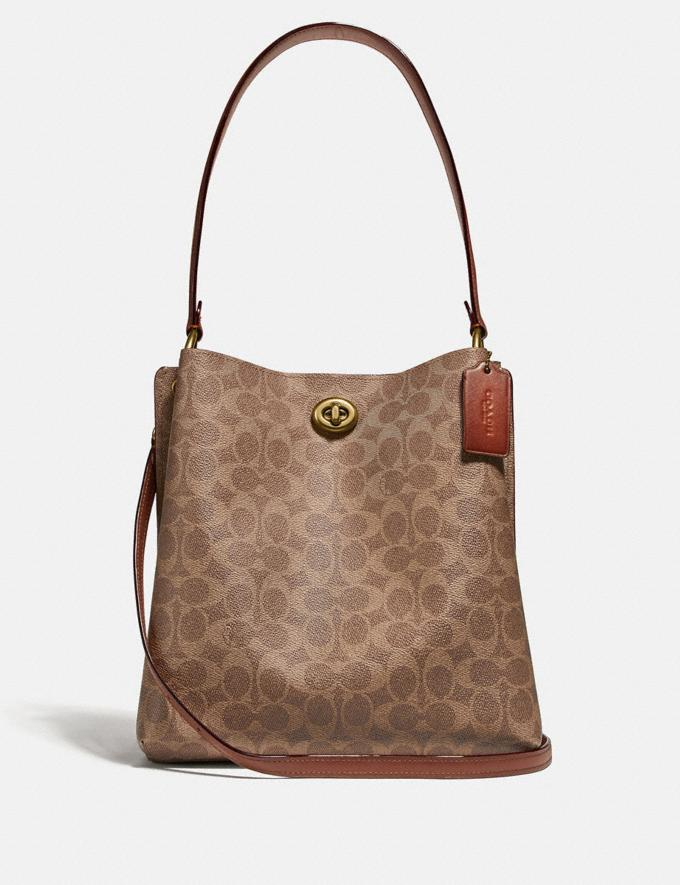 Coach Charlie Bucket Bag in Signature Canvas Brass/Tan Rust Women Handbags Shoulder Bags & Hobos
