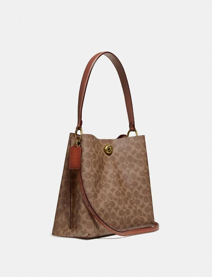 Coach Charlie Bucket Bag in Signature Canvas Brass/Tan Rust Women Bags Shoulder Bags Alternate View 1