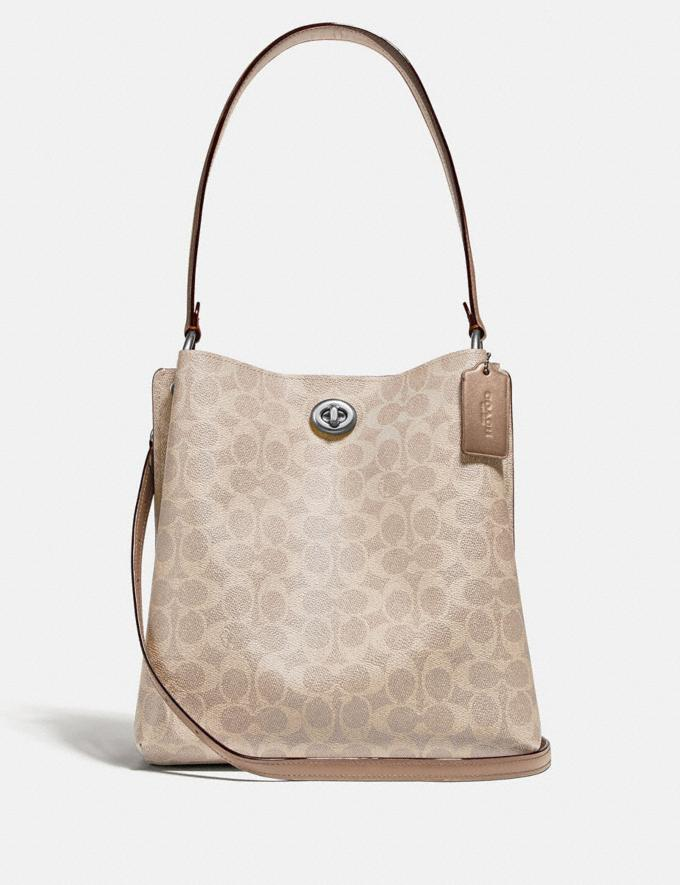 Coach Charlie Bucket Bag in Signature Canvas Light Nickel/Sand Taupe Women Handbags Shoulder Bags & Hobos
