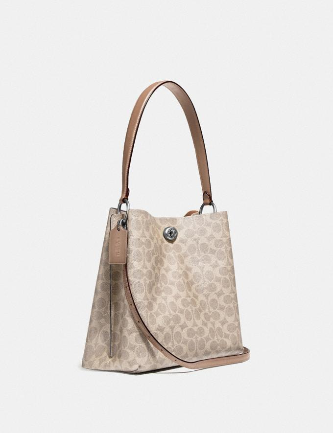 Coach Charlie Bucket Bag in Signature Canvas Light Nickel/Sand Taupe Women Handbags Shoulder Bags & Hobos Alternate View 1