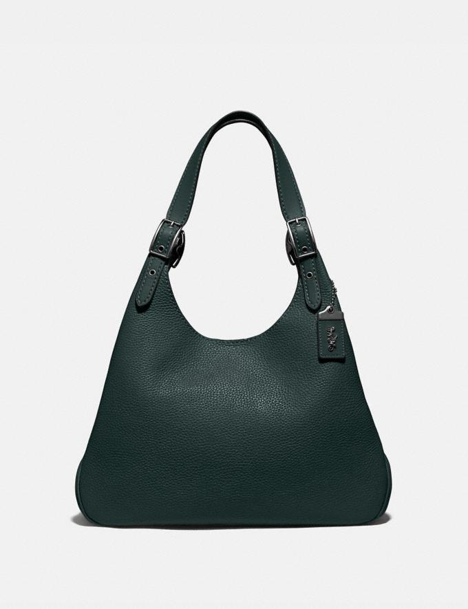 Coach Cass Shoulder Bag Pewter/Pine Green Women Handbags Shoulder Bags & Hobos