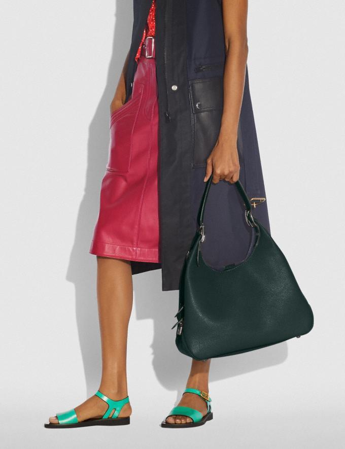 Coach Cass Shoulder Bag Pewter/Pine Green Women Handbags Shoulder Bags & Hobos Alternate View 3