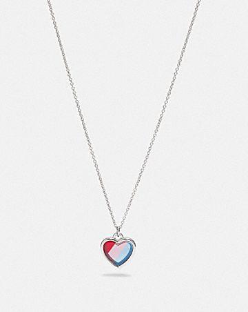 rainbow heart stone necklace
