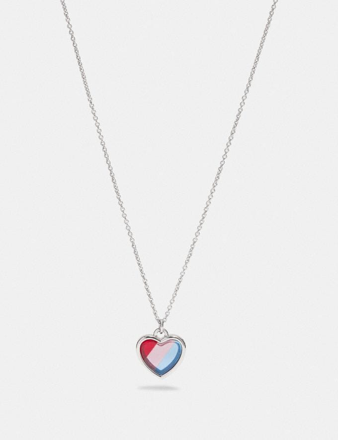 Coach Rainbow Heart Stone Necklace Silver/Multi