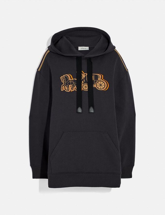 Coach Oversized Horse and Carriage Hoodie Black New Women's New Arrivals Ready-to-Wear