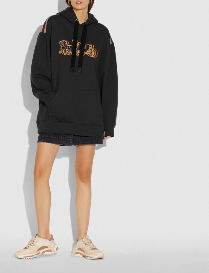 Coach Oversized Horse and Carriage Hoodie Black Women Ready-to-Wear Tops Alternate View 1