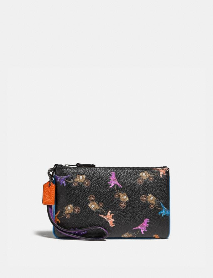 Coach Small Wristlet With Rexy and Carriage Print Pewter/Black Multi New Featured Rexy Collection