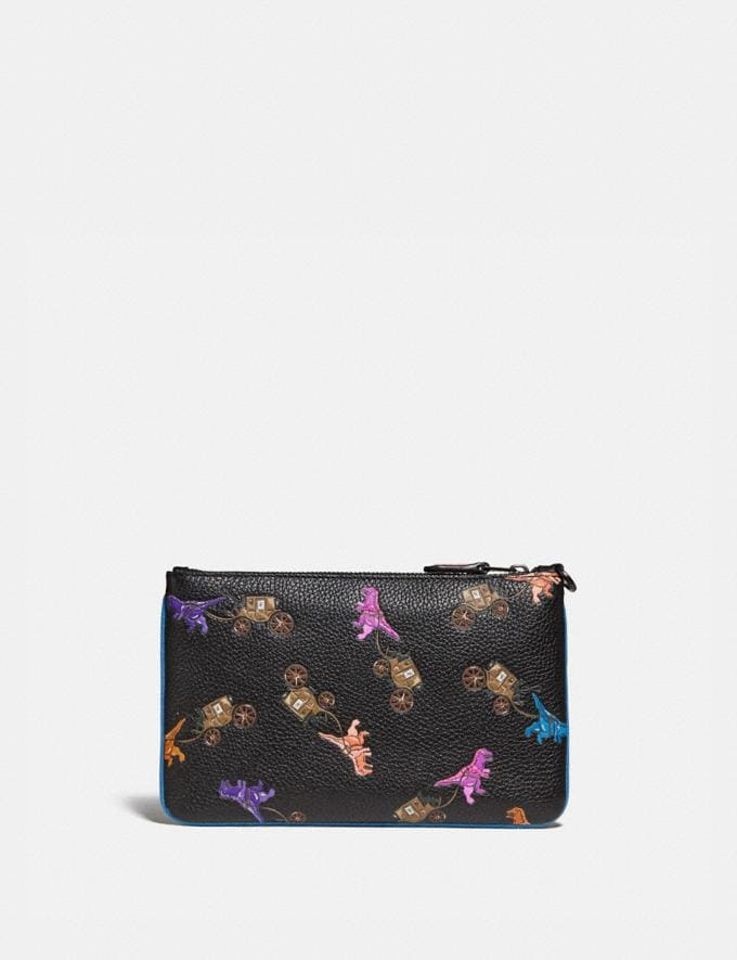 Coach Small Wristlet With Rexy and Carriage Print Pewter/Black Multi New Featured Rexy Collection Alternate View 1