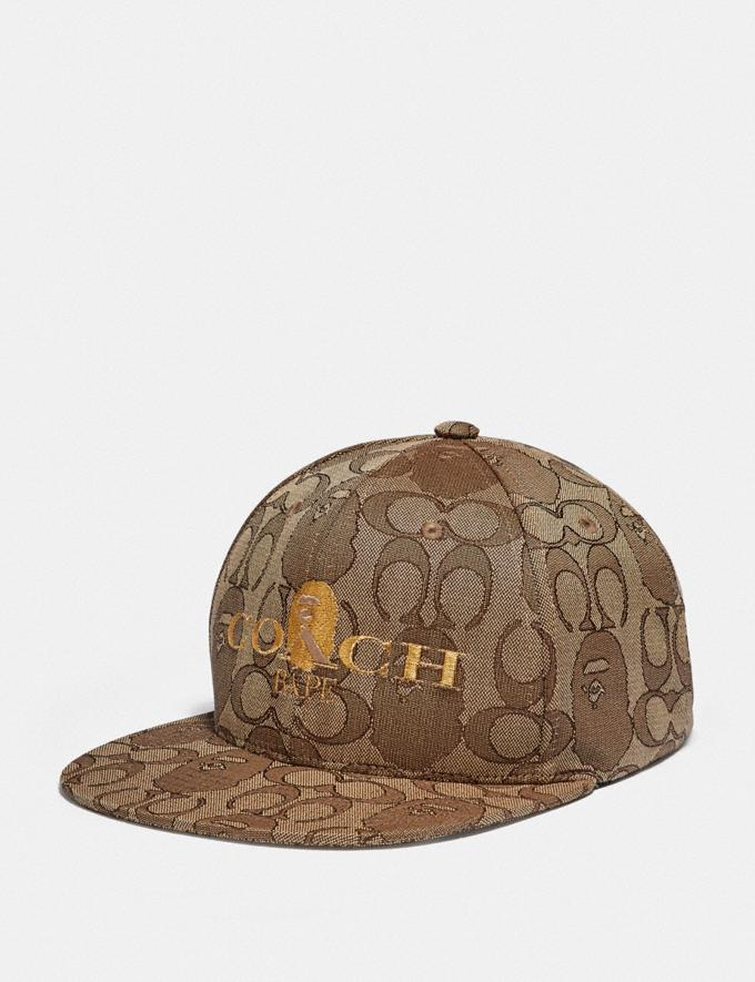 Coach Bape X Coach Baseball Cap in Signature Jacquard With Ape Head Tan Multi