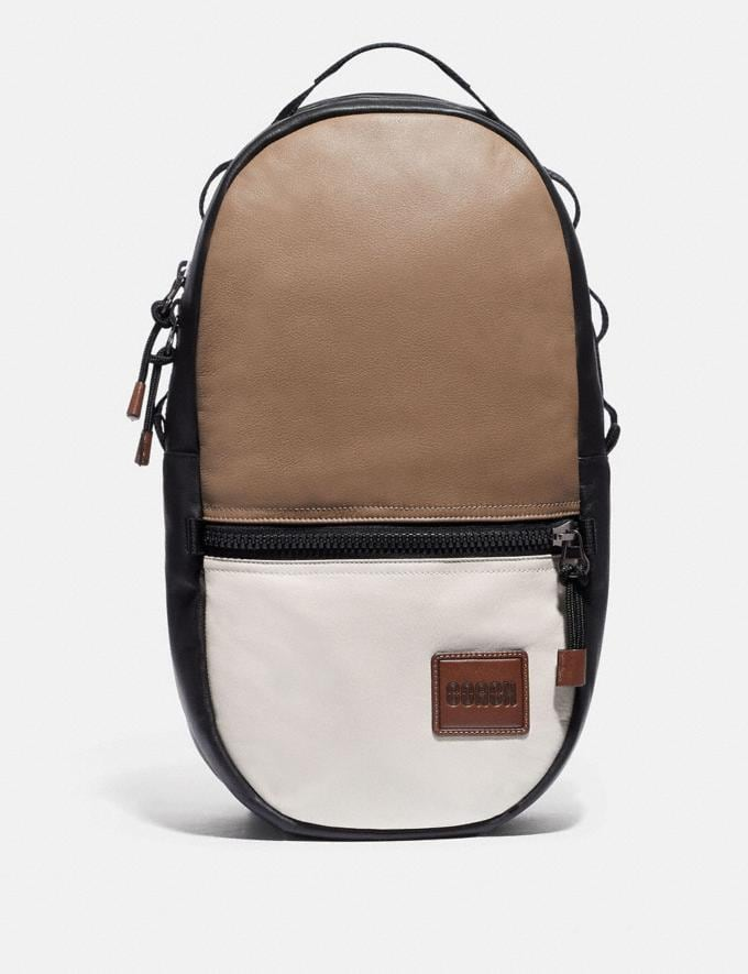 Coach Pacer Backpack in Colorblock With Coach Patch Black Copper/Brown Multi SALE Men's Sale