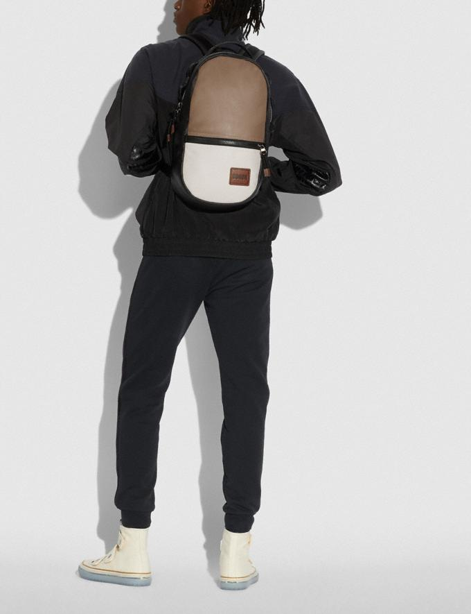 Coach Pacer Backpack in Colorblock With Coach Patch Black Copper/Brown Multi Men Edits Weekend Alternate View 3