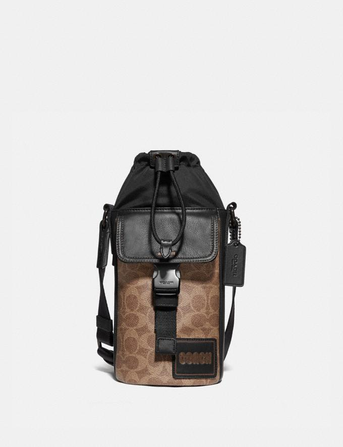 Coach Pacer Drawstring Crossbody in Signature Canvas With Coach Patch Black Copper/Khaki Men Bags Messenger & Crossbody