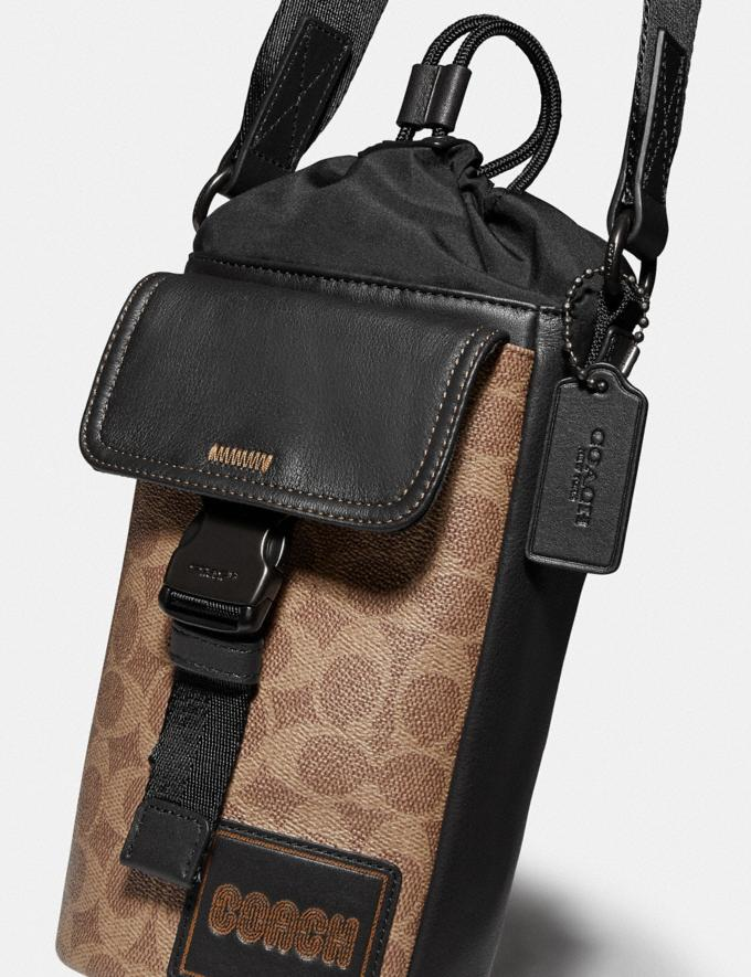 Coach Pacer Drawstring Crossbody in Signature Canvas With Coach Patch Black Copper/Khaki Men Bags Messenger & Crossbody Alternate View 4
