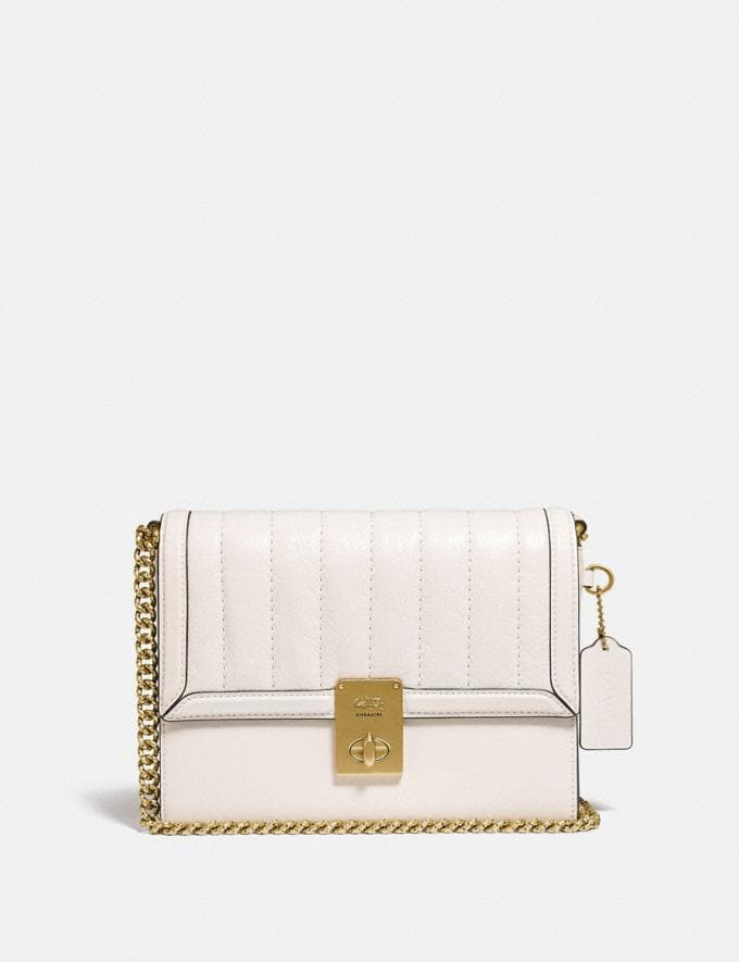 Coach Hutton Shoulder Bag With Quilting Brass/Chalk Cyber Monday For Her Cyber Monday Sale
