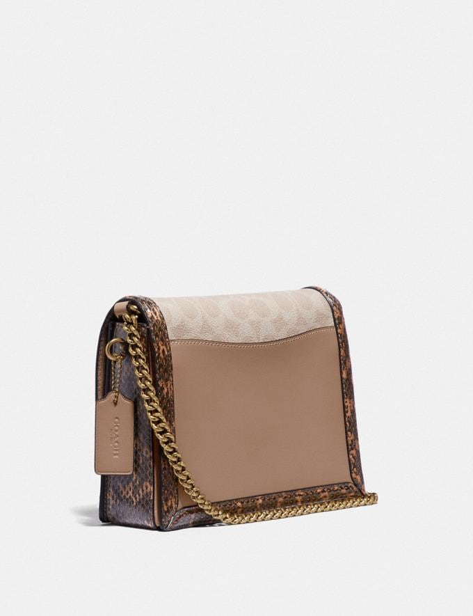 Coach Hutton Shoulder Bag in Blocked Signature Canvas With Snakeskin Detail Brass/Tan Sand Bags Collection Hutton Alternate View 1