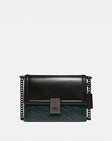 hutton shoulder bag with colorblock snakeskin detail