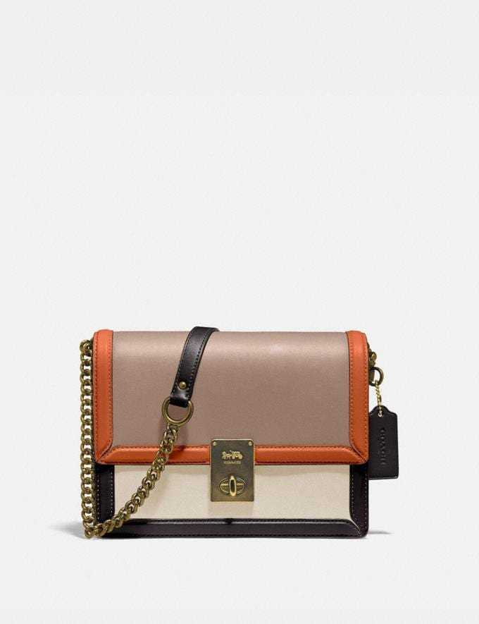 Coach Hutton Shoulder Bag in Colorblock Brass/Taupe Ginger Multi Bags Collection Hutton