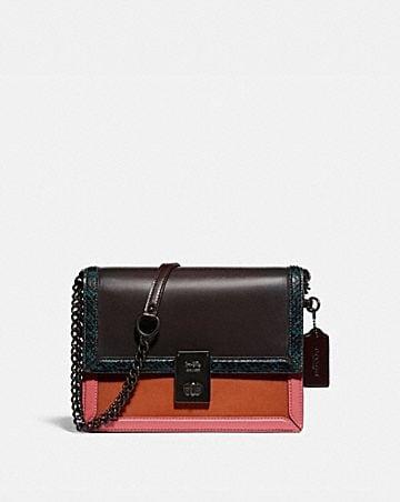 hutton shoulder bag with colorblock snakeskin detail