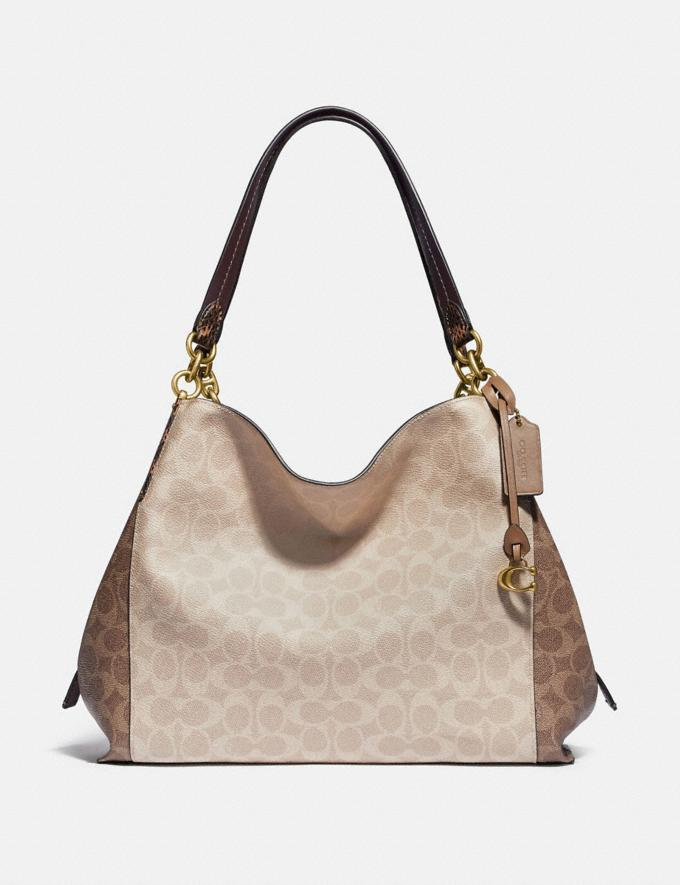 Coach Dalton 31 in Blocked Signature Canvas With Snakeskin Detail Brass/Tan Sand Women Bags Signature Bags