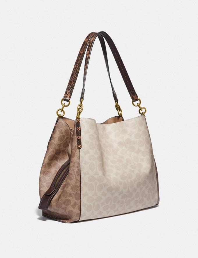 Coach Dalton 31 in Blocked Signature Canvas With Snakeskin Detail Brass/Tan Sand Women Bags Shoulder Bags Alternate View 1
