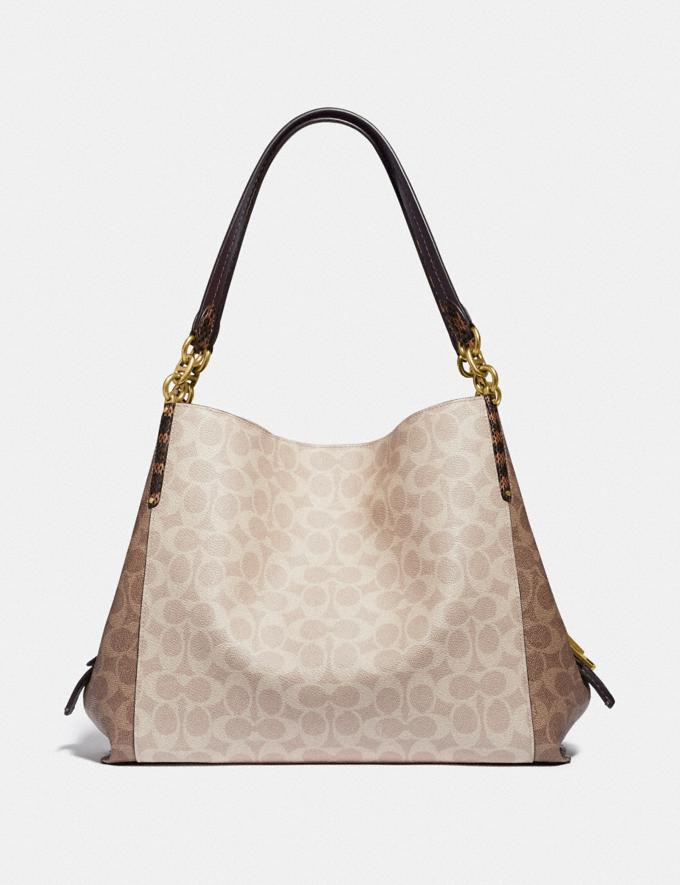 Coach Dalton 31 in Blocked Signature Canvas With Snakeskin Detail Brass/Tan Sand Women Bags Shoulder Bags Alternate View 2