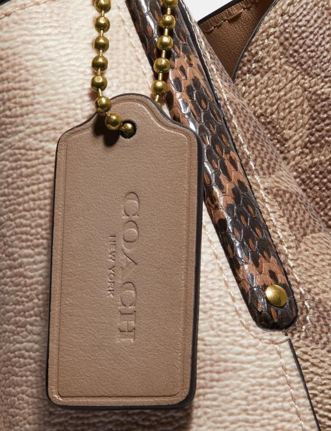 Coach Dalton 31 in Blocked Signature Canvas With Snakeskin Detail Brass/Tan Sand Women Bags Shoulder Bags Alternate View 6