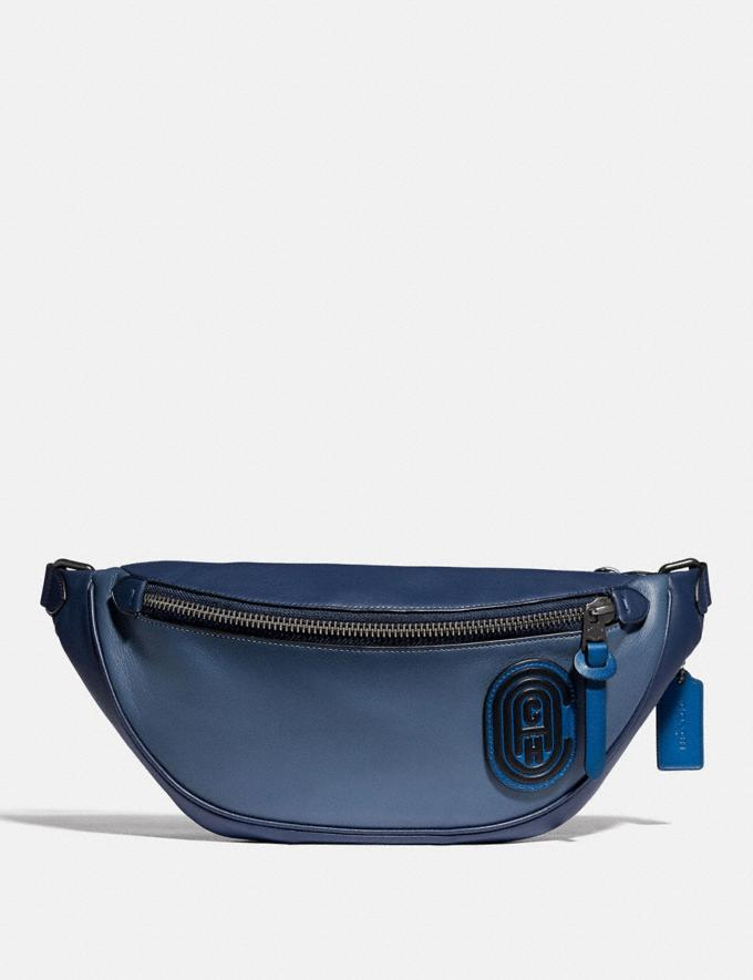 Coach Rivington Belt Bag in Colorblock With Coach Patch Black Copper/Blue Multi Men Bags Belt Bags