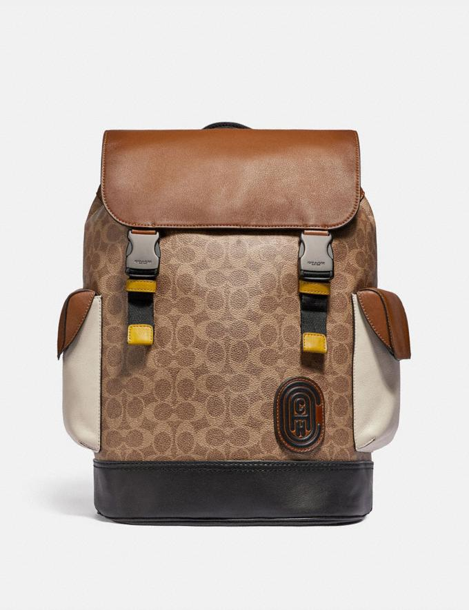 Coach Rivington Backpack in Signature Canvas With Coach Patch Black Copper/Khaki/Brown Multi Men Bags Signature Bags