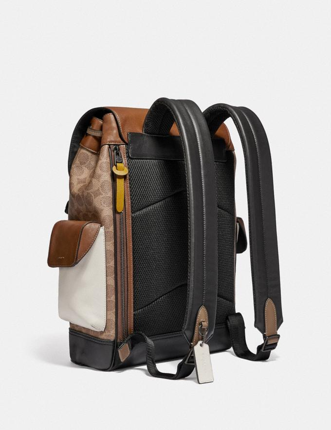 Coach Rivington Backpack in Signature Canvas With Coach Patch Black Copper/Khaki/Brown Multi Men Bags Backpacks Alternate View 1