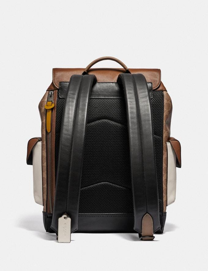 Coach Rivington Backpack in Signature Canvas With Coach Patch Black Copper/Khaki/Brown Multi Men Bags Backpacks Alternate View 2